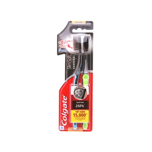 COLGATE CHARCOAL SOFT TWIN PACK TOOTHBRUSH 1+1 FREE